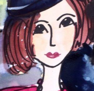Aquarell auf Papier, Ausschnitt Frau mit roten Haaren und blauem Hut